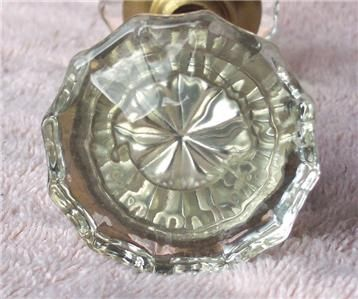 ANTIQUE CLEAR GLASS DOOR KNOBS (2) KNOB SET RARE 12 SIDED CUT